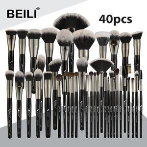Image 1 - Beili 黒プロ 40 個のメイクブラシセットソフトナチュラル毛粉末ブレンド眉毛ファンファンデーションブラシ