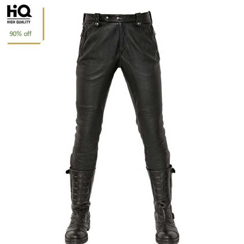 Fashion Real Leather Pants Men 2020 New Winte Motorstyle Straight Full Length Masculina Trousers Punk Fleece Lining Pantalon Man