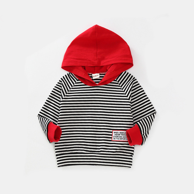 27kids  Children's Kids Hooded Clothing Spring Autumn For Boys Girls Striped Hooded Long Sleeve Clothing Kids Baby Coat Tops