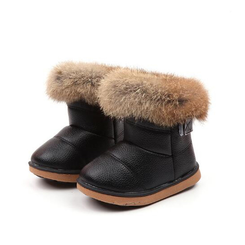 Girls Snow Boots Winter Warm Fashion Boots Children Rabbit Fur Soft Bottom Toddler's Cotton Shoes White 4