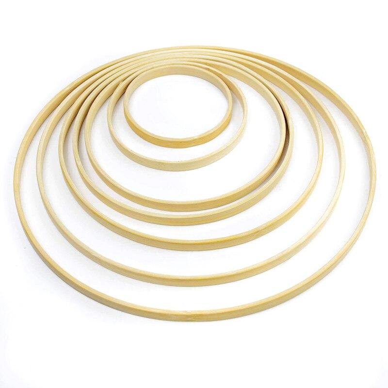 5 pièces en bois bambou Floral cercle cerceau ensemble macramé artisanat cerceau anneaux pour fleurs bricolage couronne décor capteur de rêves