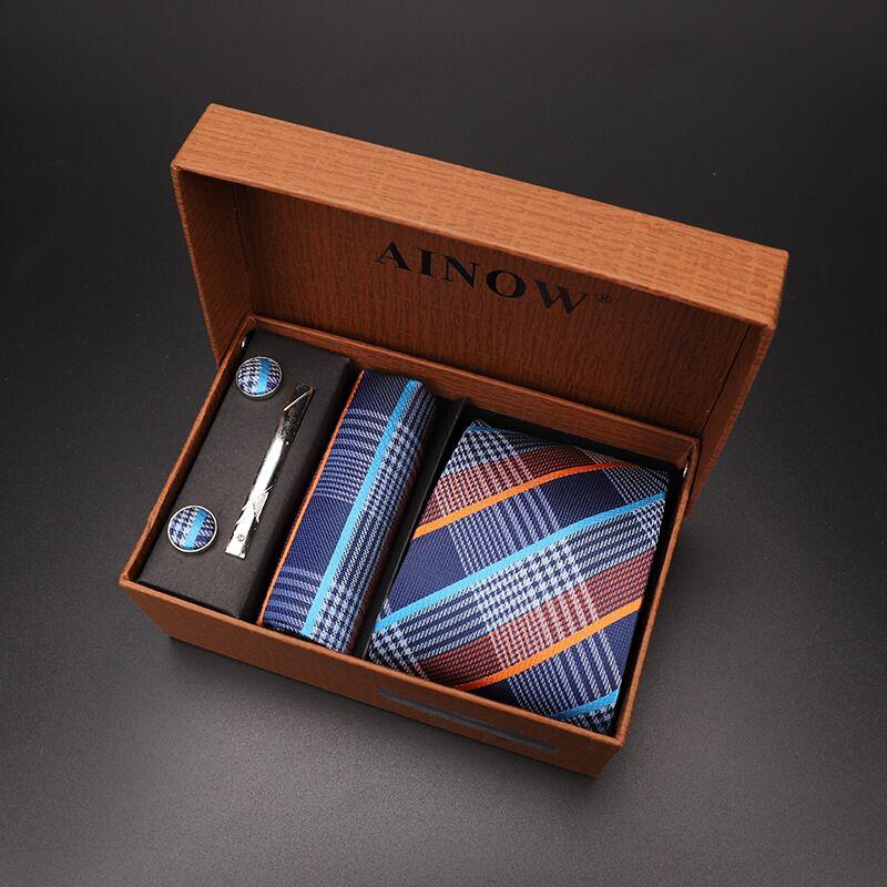 Набор галстуков 4 шт. мужской цветочный галстук для шеи клетчатый галстук подарок свадебный красный полосатый 8 см темно-синий жаккардовый тканый черный однотонный Камуфляжный ящик - Цвет: NO box 01