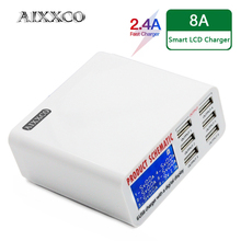 AIXXCO 6A with LCD Digital Display 6 Port USB Charger Fast Smart Charging Station for iPhone Xiaomi Huawei Samsung Tablet