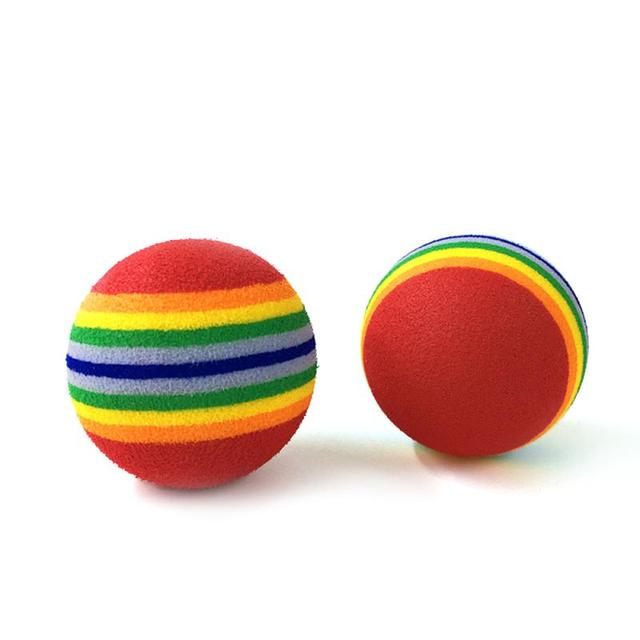 Cat Toys Ball Pet Supplies Play Chewing Rattle Scratch 3.5cm Rainbow Cat Toy Ball 5