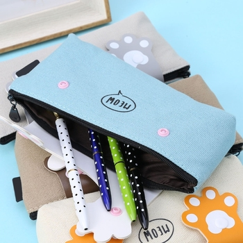 Cute Cat Paws Canvas Pencil Case Pen Box School Stationery Cosmetic Makeup Bag j26 kawaii cute moomin canvas pen bag pencil holder storage case school supply birthday gift cosmetic makeup travel