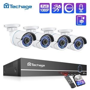 Techage 8CH 1080P POE NVR CCTV System 2MP Audio Microphone IP Camera IR Outdoor Waterproof P2P Video Security Surveillance Set(China)