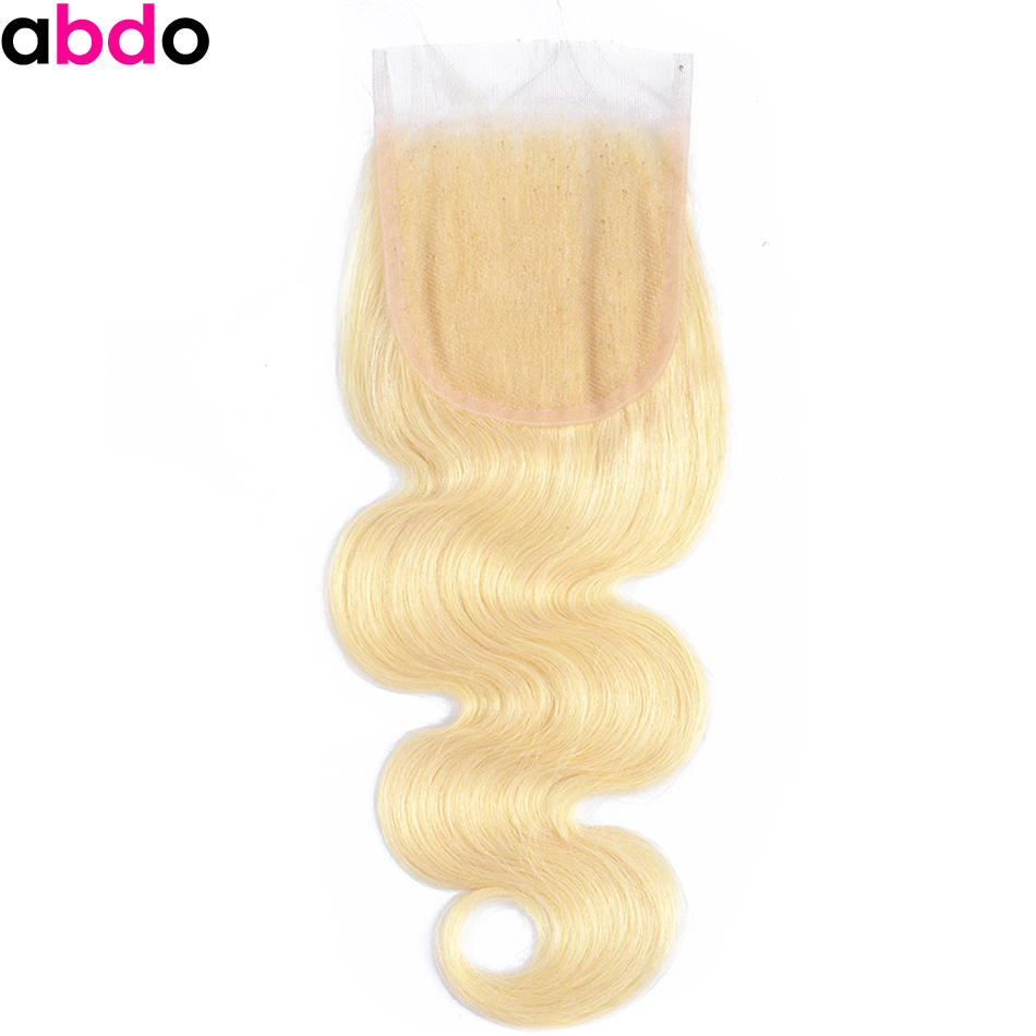 Brazilian Blonde 4*4 Lace Closure 613 Body Wave Closure Three Middle Free Part Remy 100% Human Hair Closure 10-20 Inch Abdo image
