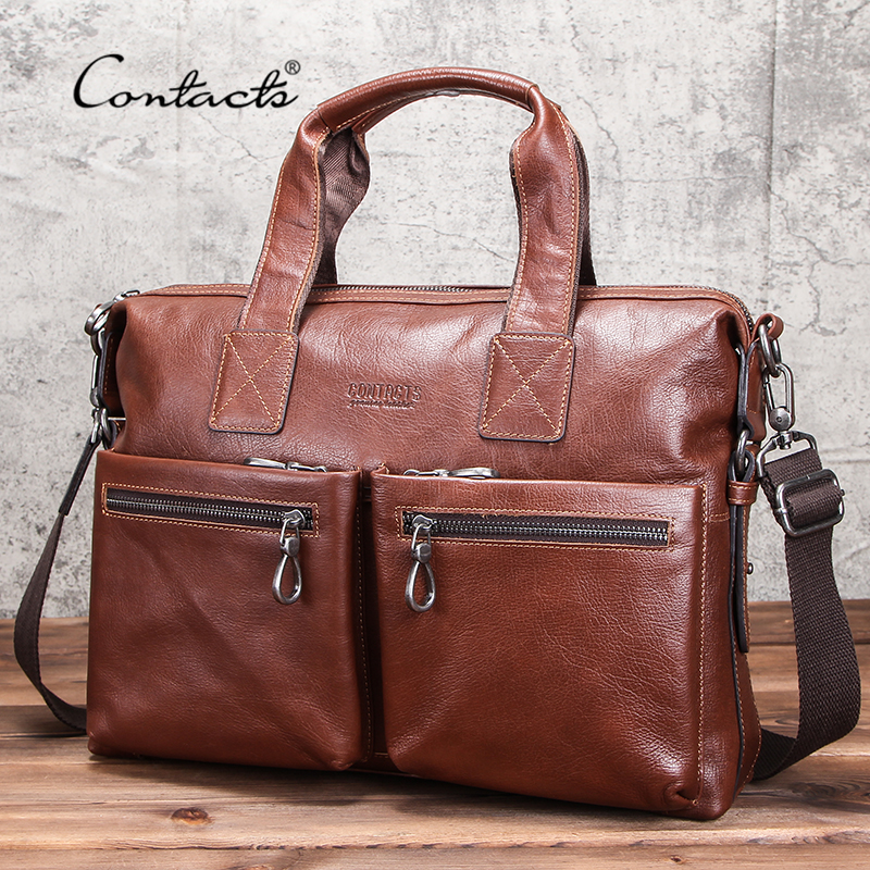 CONTACT'S Business Men Briefcase Vegetable Tanned Leather Man Laptop Bag Brand Male Shoulder Messenger Bags Tote Design Maleta