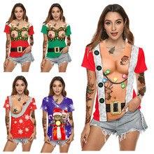 Plus Size Sexy Round neck Santa Claus Print Christmas T-shirt Women Autumn Tops for Christmas gift  Unisex print sleeve plus size christmas kind santa claus sweatshirt