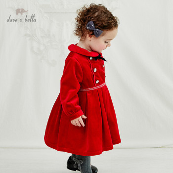 DB11745 dave bella winter baby girl's cute removable bow dress children fashion party dress kids infant lolita clothes image