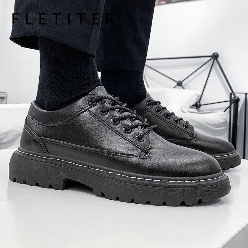 Новинка 2021, кожаные мужские туфли в стиле ретро, оксфорды на шнуровке, весенняя обувь на платформе с круглым носком, модные мужские туфли ручной работы Footear