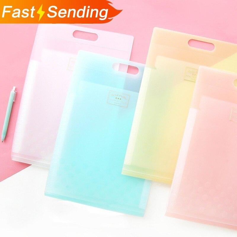 JIANWU KOKUYO Cute Light-coloured Cookies  A4 6P Folder Storage Bag Candy Plastic File Pocket Kawaii School Supplies
