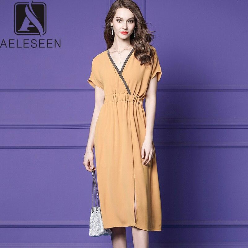 AELESEEN 2019 Autumn New Fashion Office Lady Dresses Women Luxury Beading V-neck Collar Elegant Ginger Yellow Mid-Calf Dress