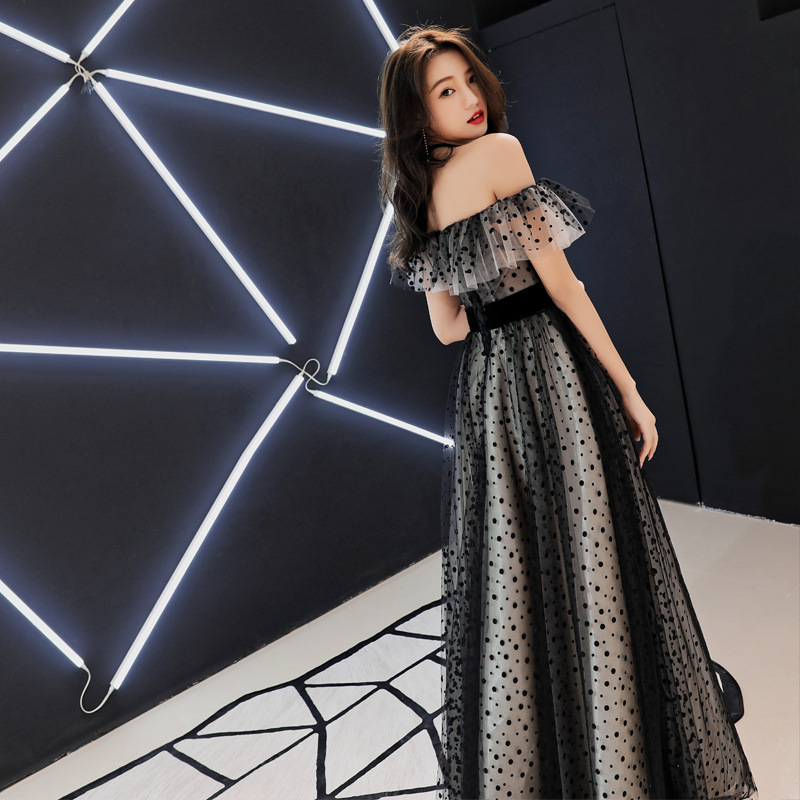 Late Formal Dress 2019 New Style Summer Long Off-Shoulder Black And White With Pattern Banquet Nobility Elegant Slim Fit Host Fo