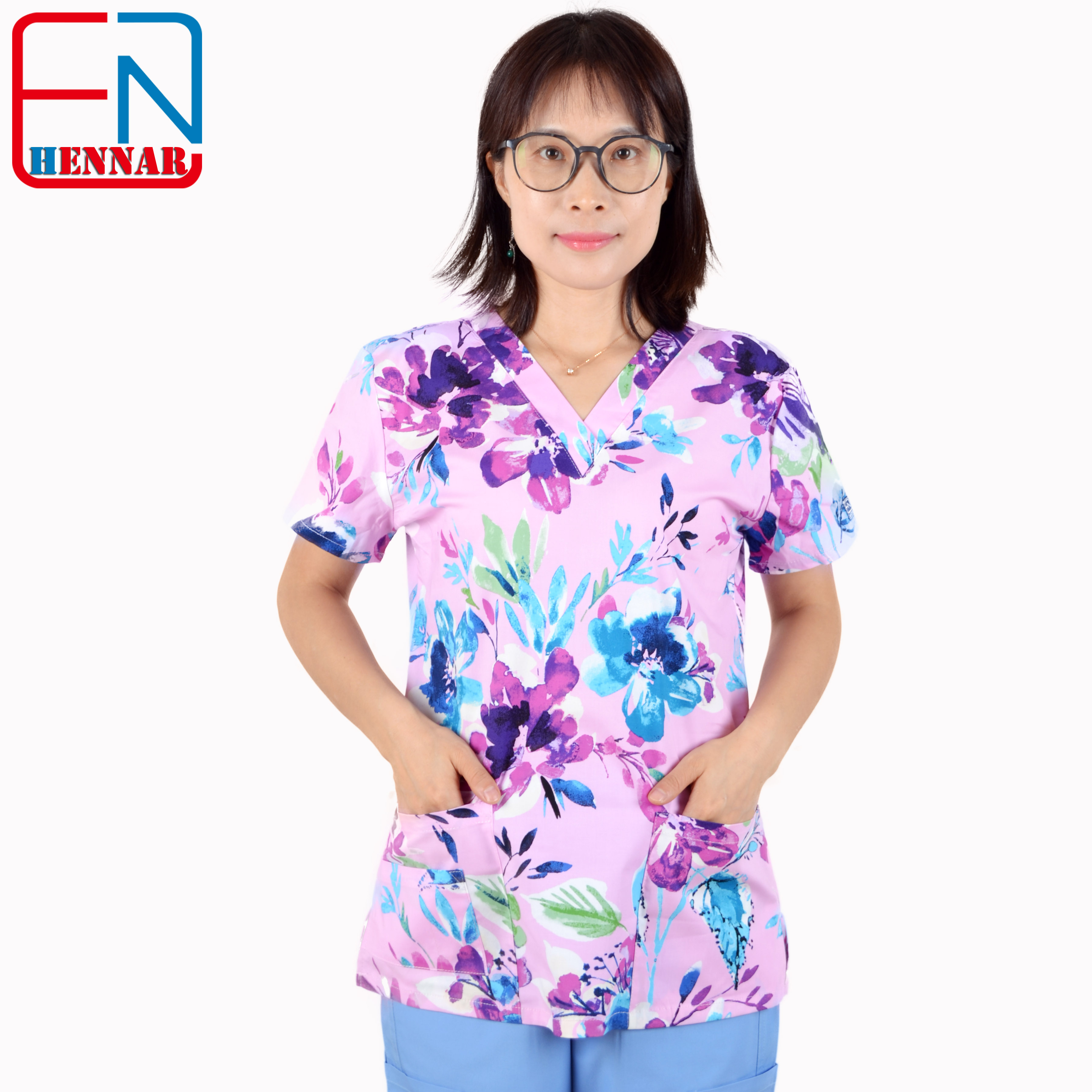 Hennar scrub tops in 100% cotton ,women scrub tops,women medical uniforms