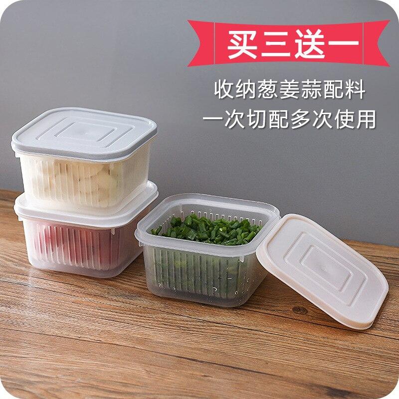Green Onion Ginger Garlic Fresh-keeping Box Refrigerator Fruit & Vegetable Storage Box Kitchen With Lid Water Draining Storage B