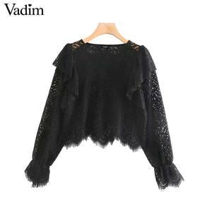 Image 2 - Vadim נשים בציר תחרה עיצוב חולצה ארוך שרוול ראפלס לראות דרך חולצה נקבה אופנתי חולצות blusas LB632