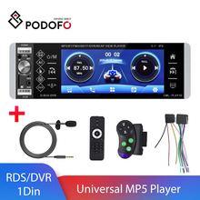 Podofo 1 Din 5,1 ''Универсальный RDS MP5 автомобильный Радио плеер музыкальный фильм плеер голосовой помощник с FM USB SD DVR сенсорный экран