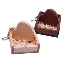 O amor de madeira do coração + caixa livram a movimentação flash feita sob encomenda 4gb 8gb 16gb 32gb 64gb usb 2.0 da movimentação da pena fotografia