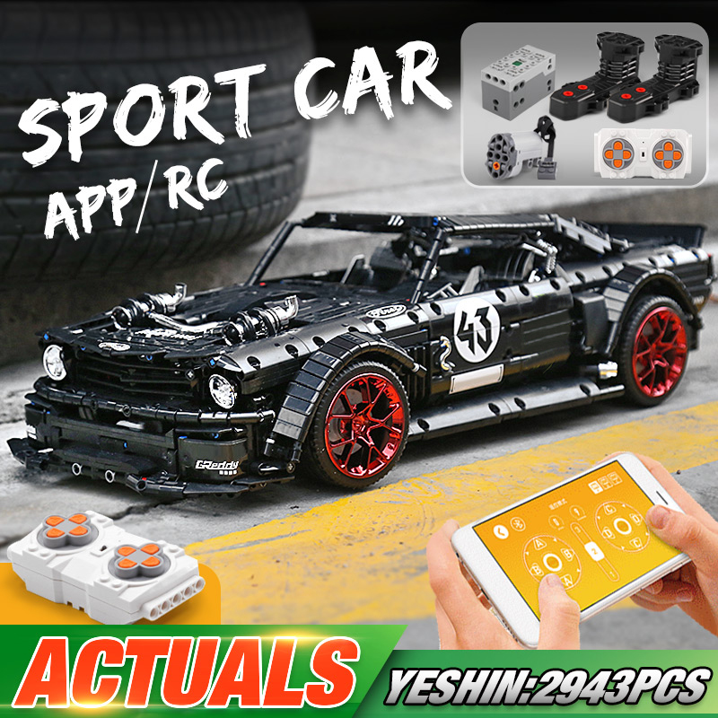 MOULD KING 13108 APP High-Tech Car Model The MOC-16915 Mustang Hoonicorn With Motor Function Building Blocks
