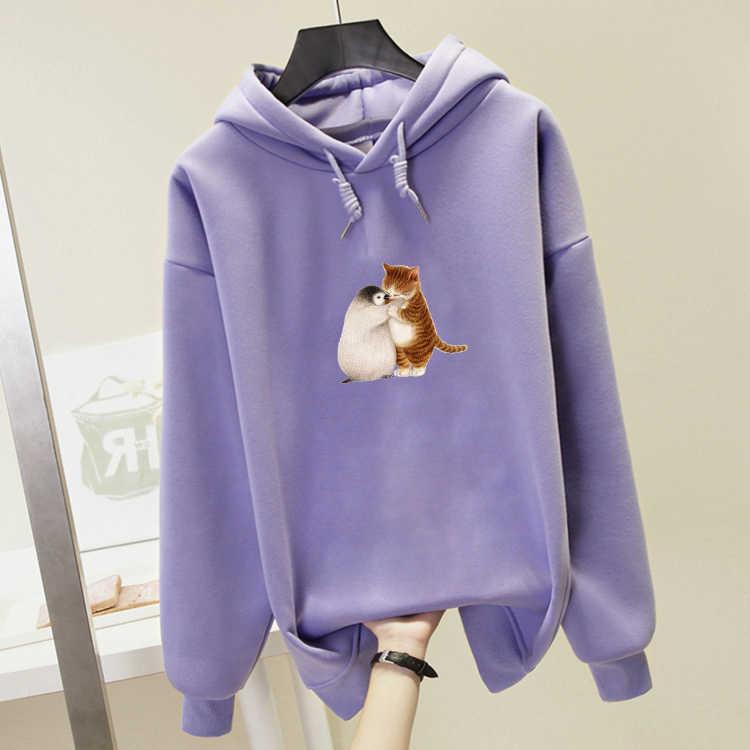Hoodies für Frauen mit Katze Pinguin 2019 Neue Mode Langarm Nette Grafik Sweatshirts Kpop Streetwear Hoodie Weibliche Trainingsanzug