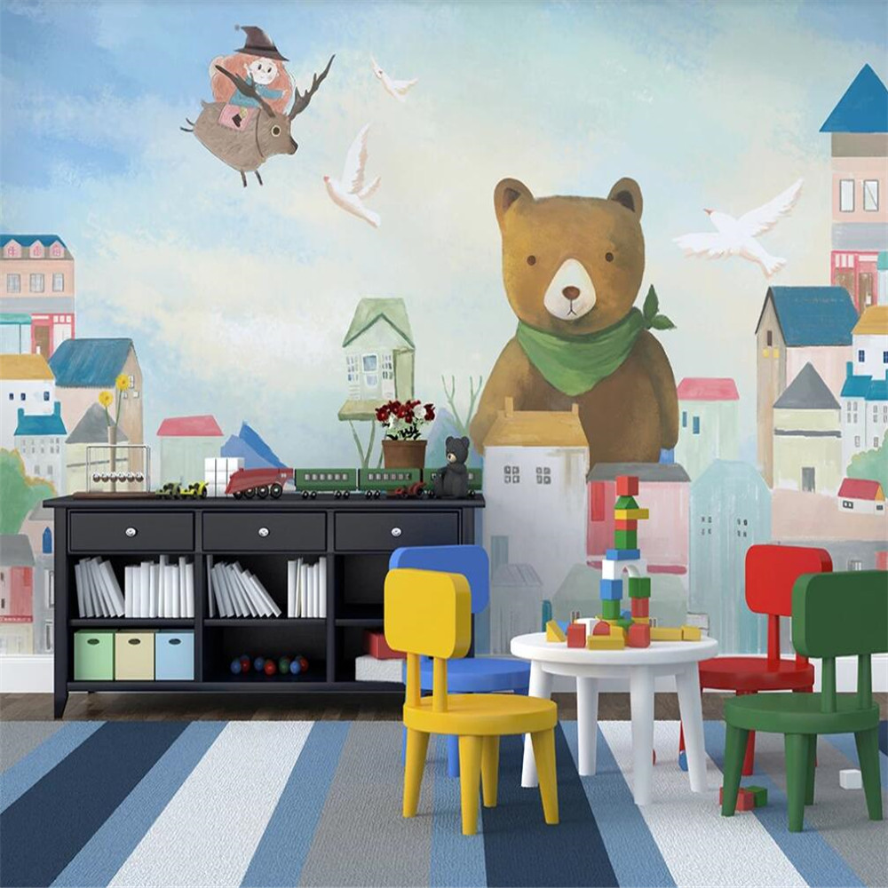 Milofi Custom 3D Wallpaper Mural Nordic Simple Bear Bear House Children's Room Wall Decoration Painting Wallpaper