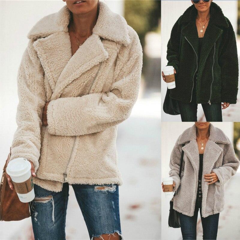 Winter Teddy Coat Jacket Woman Thick Warm Lapel Long Sleeve Zipper Fluffy Fake Fur Jackets Female Fashion Plus Size Overcoat
