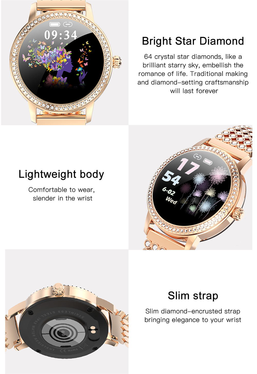 Diamond-studded Smart Watch 2021 For Women Lovely Steel Sport Watch IP68 waterproof Fitness bracelet Heart Rate LW20 Smartwatch