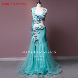Belly Dance Costume Sexy High-end Dance Costume Sky blue Waist Chain Belly Dance Luxury Customization Suit