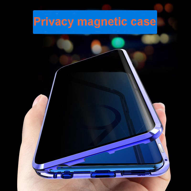 New Privacy Metal Magnetic Anti-view Phone Case For Samsung S10 S8 S9 Plus Note 8 9 Magnet Phone Case Coque 360 Protective Cover