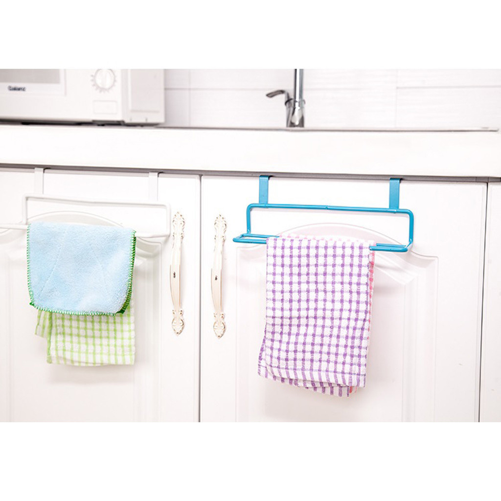 Garbage Bag Hanging Holder Cupboard Door Back Trash Rack Kitchen Cabinets Storage Towel Shelf Holders Storage Kitchen Tools A40