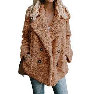 Image 2 - Teddy Coat Women Faux Fur Coats Long Sleeve Fluffy Fur Jackets Winter Warm Female Jacket Women Winter Coats 2020 Plus Size 5XL