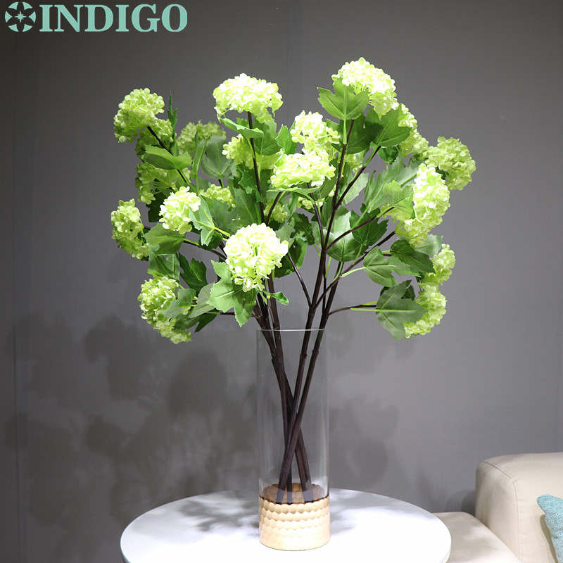 INDIGO 5 stems Green Hydrangea Spray Silk Flower Snow Ball Wedding Party Fake Flower Decorative Event Flower Free Shipping in Artificial Dried Flowers from Home Garden