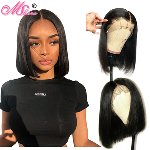 Brazilian Straight Short Bob Wig Glueless Lace Front Human Hair Wigs For Black Women Pre Plucked With Baby Hair Remy Hair(China)