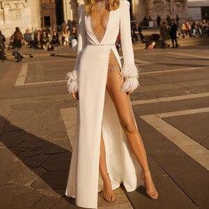 Женское сексуальное платье с глубоким v-образным вырезом, белое длинное облегающее женское платья с рюшами и длинным рукавом, вечернее плат...