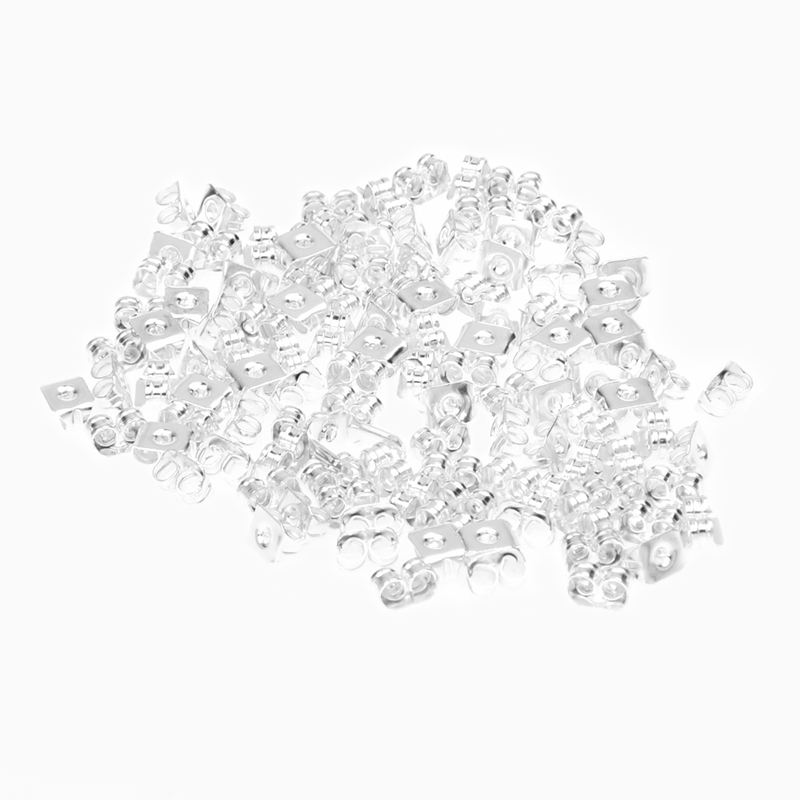 100-Piece Surgical Steel Earring Backs Medium Silver