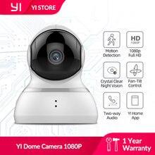 Yi dome câmera 1080p pan/tilt/zoom sem fio ip sistema de vigilância segurança completa cobertura de 360 graus visão noturna branco