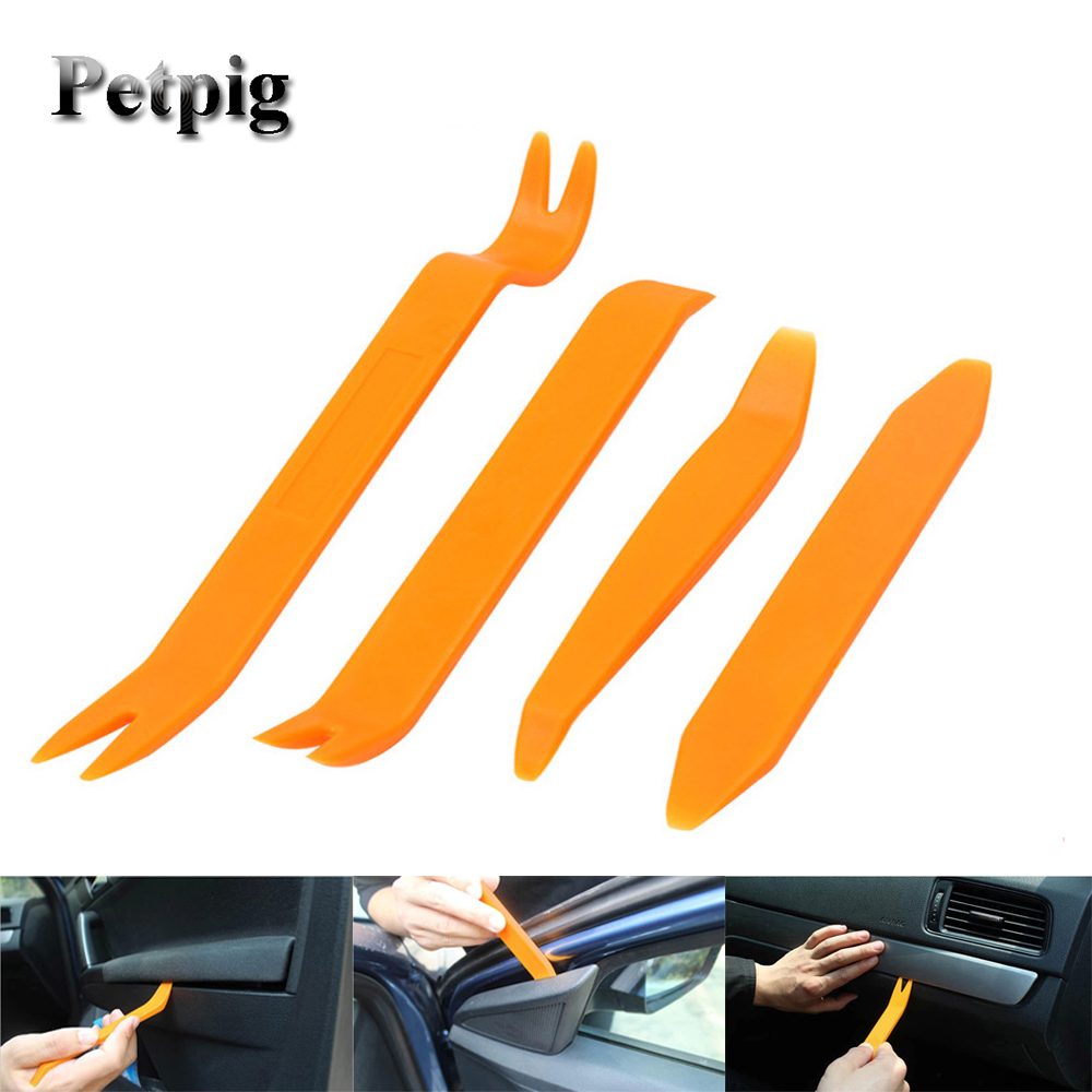 Petpig 4pcs Car Disassembly Plastic Pry Hand Tool Set Auto Car Radio Door Clip Audio Removal Installer Pry Tools
