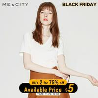 Me&city New Cotton Aesthetics Tshirt Solid Color Short Sleeve Tops&Tees Fashion Casual Sexy V neck T Shirt