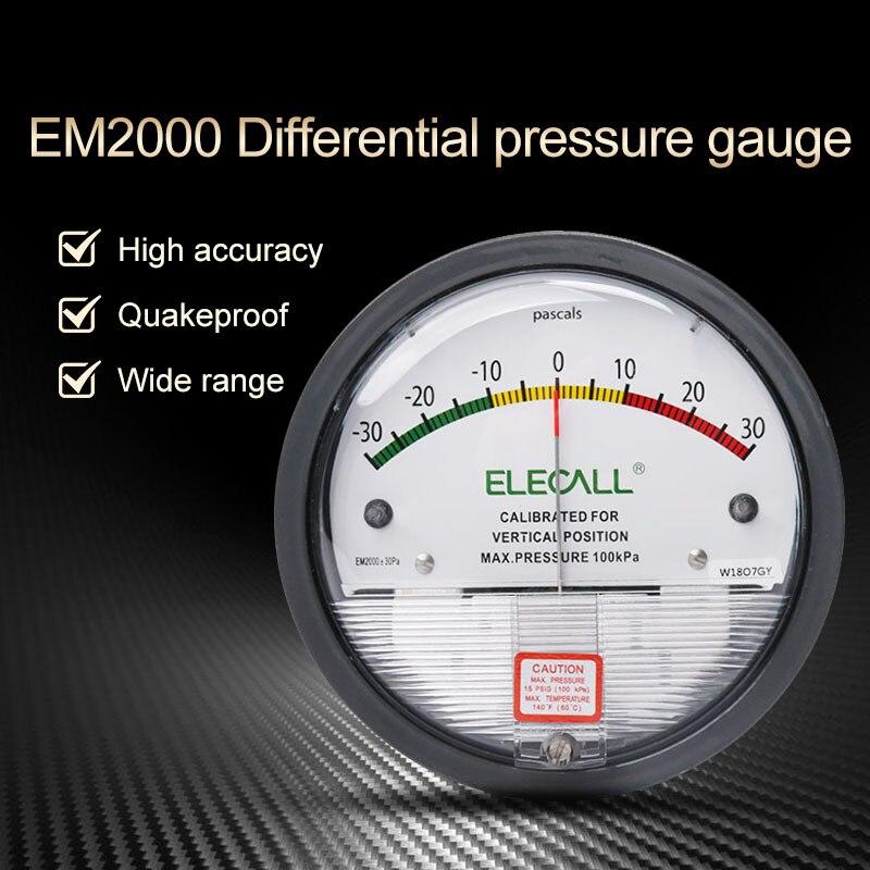 ELECAL Differential Pressure Gauge barometer micromanometer analog Manometer Pointer for air gas meters -30PA-30KPA  EM2000