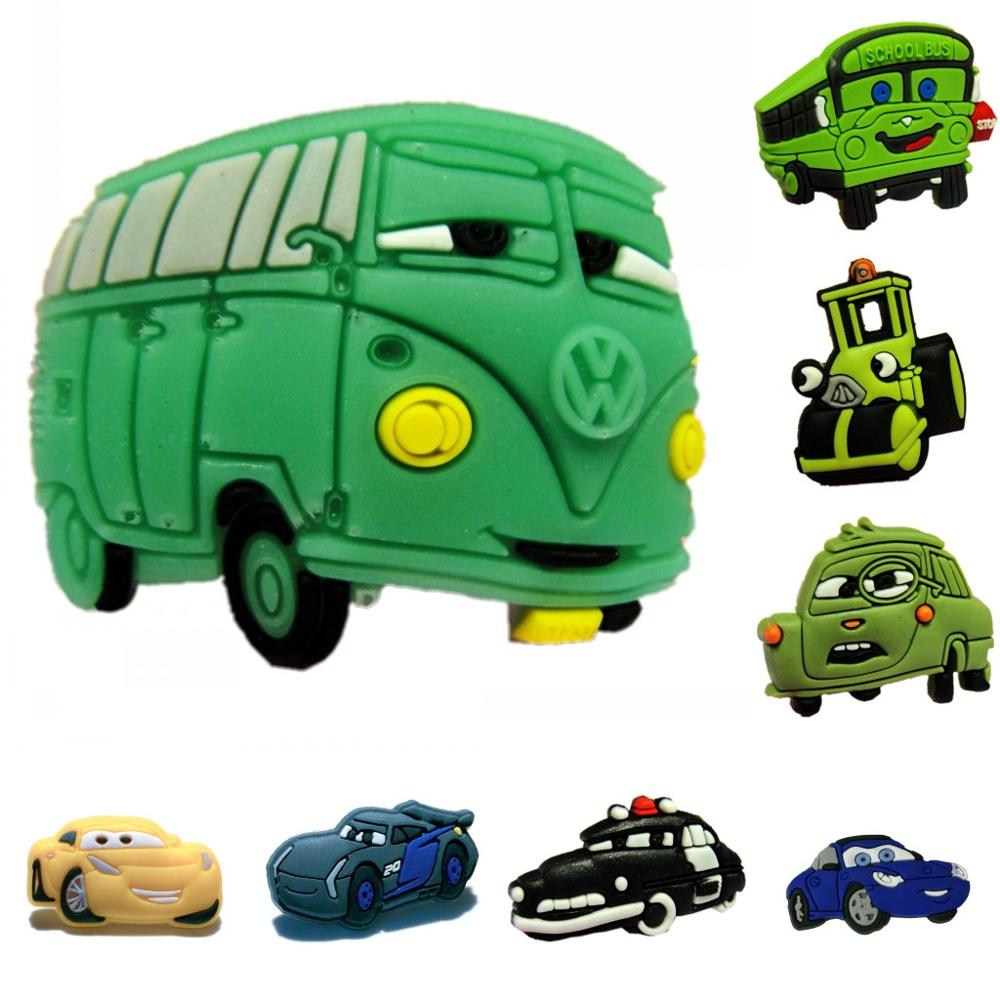 Single Sale 1pc Toy Car Hot Cartoon PVC shoe charms shoe accessories shoe decoration for croc jibz  Kid's Party X-mas Gift