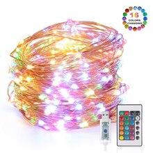 Новая сказочная гирлянда RGB, 16 цветов, меняющая светодиодная гирлянда, 5 м, 10 м, пульт дистанционного управления с usb, Рождественский наружный декор, вечерние Свадебные огни