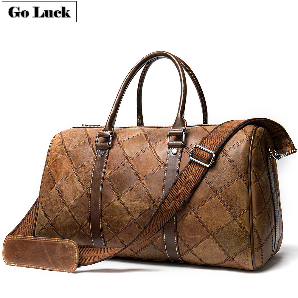 European Style Genuine Leather Casual Travel Top-handle Handbag Duffle Unisex Crossbody Shoulder Bag Messenger Bags Men&Women