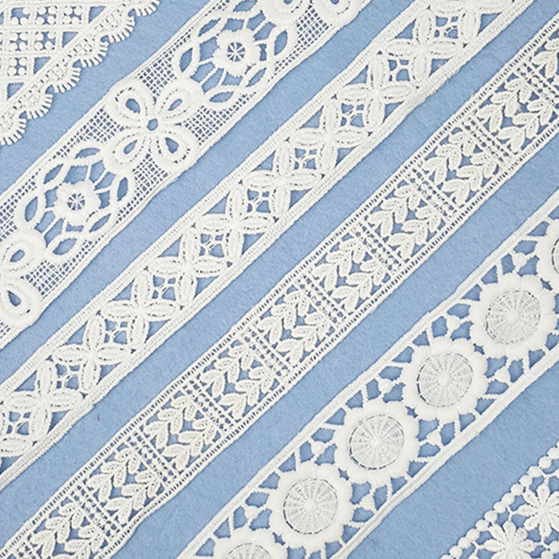 Wholesale 7 Yards Lace Ribbon White Unique Pattern Fabric Embroidered Lace Trim Trimmings For Sewing DIY Costume Hat Decoration