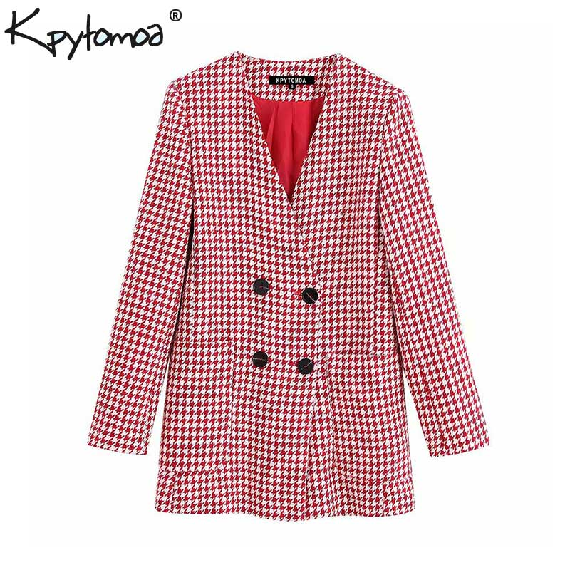 Vintage Stylish Double Breasted Houndstooth Jacket Coat Women 2020 Fashion Long Sleeve Pockets Plaid Outerwear Chaqueta Mujer