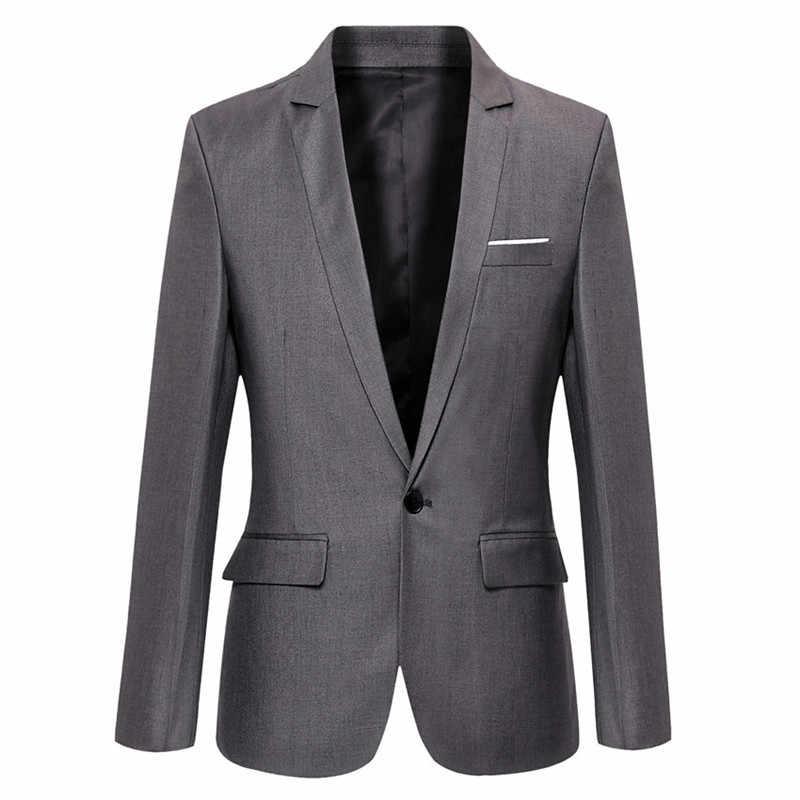 Biru Pria Blazer Kerja Kantor 2019 Pria Tuksedo untuk Acara Formal Kantong Mantel Blazer Pria Kustom Pria Bisnis Slim blazer