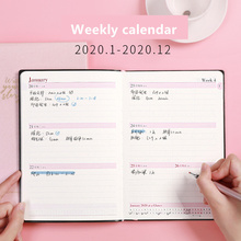 2020 Calendar Planner Monthly Weekly Plan Notebook Agenda Organizer Diary A5 Pu Soft Leather Student Account Book Stationery