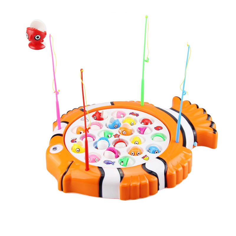 Children's Kids Fishing Board Toy Game Fish Electric Magnetic Educational Rotating Hot Sales