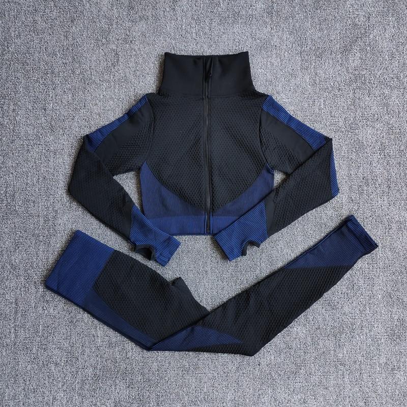 ShirtsPantsBlue - Women Seamless Fitness Yoga Suit Color-blocked Sportwear