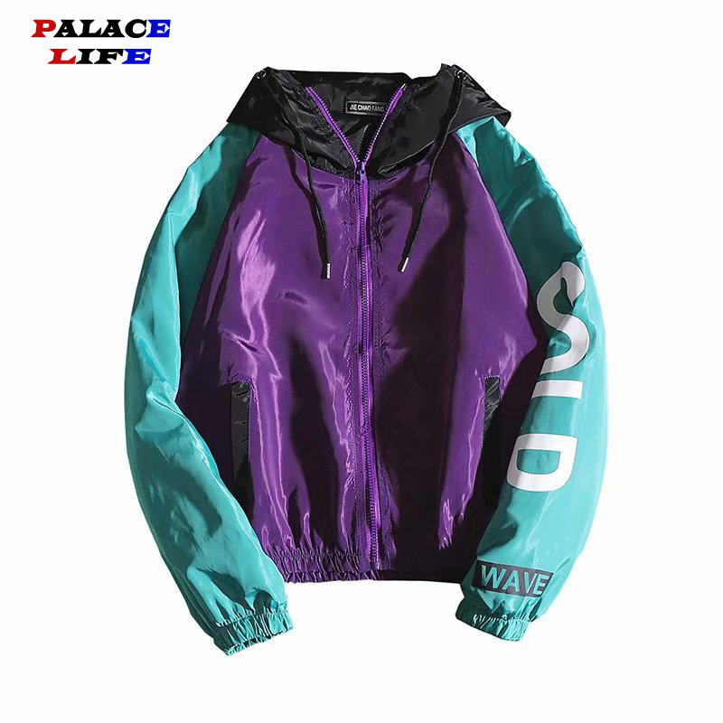 Hip Hop Mens Hooded Patchwork Jacket 2020 Harajuku Letter Printed  Zipped Loose Track Jacket Men Korean Sport Male Coats